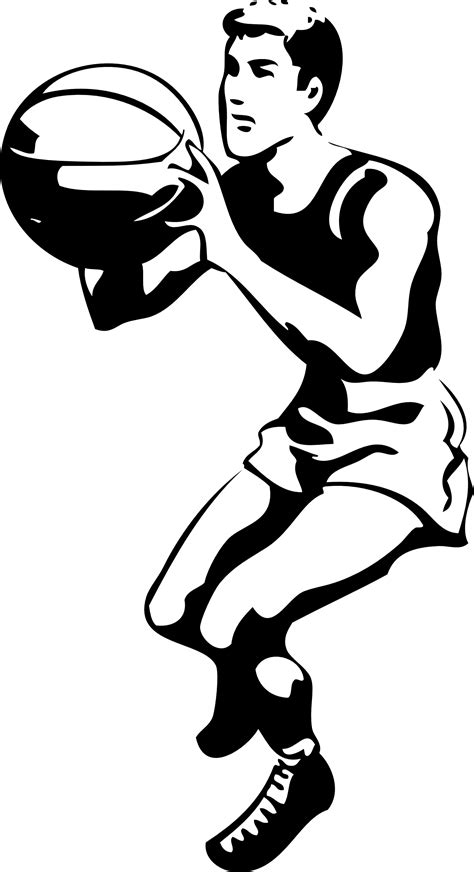 basketball player clipart black and white basketball player clipart black and white clipart panda
