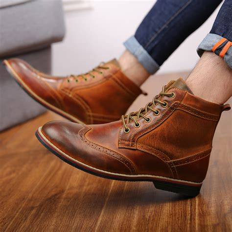 Autumn New Men Boots Big Size Vintage Brogue