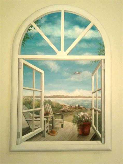 custom bathroom faux window mural  artbyannette