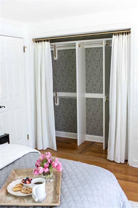 Walk In Closet Curtain by Replacing Bi Fold Closet Doors With Curtains Our Closet