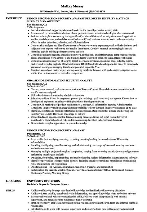 Information Security Resume by Senior Information Security Analyst Resume Sles