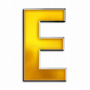 isolated letter e in shiny gold stock illustration With gold letter e