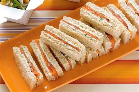 salmon  herb cream finger sandwiches