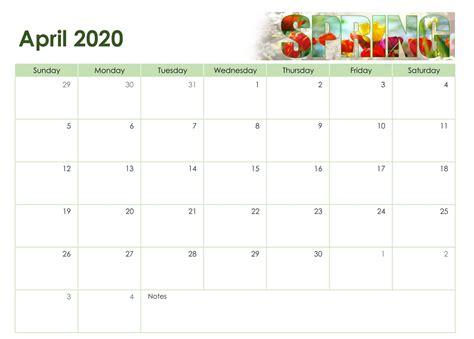 printable april  calendar   holidays sheet set