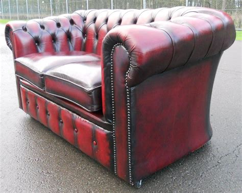 small leather settee ox blood small leather two seater chesterfield settee