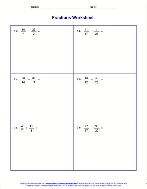 Worksheets For Fraction Addition