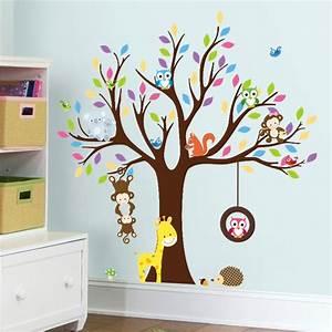 Stickers Arbre Photo : sticker arbre g ant avec singes hibou et girafe stickers nature arbres ambiance sticker ~ Teatrodelosmanantiales.com Idées de Décoration