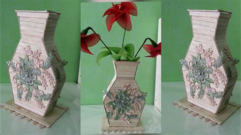 Begini loh ternyata cara membuatnya. Cara membuat vas bunga dari stik ice cream dan renda - YouTube