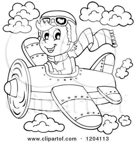 11742 pilot clipart black and white of a black and white happy boy pilot flying a