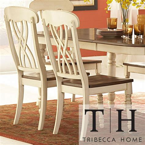 Tribecca Home Dining Furniture by Mackenzie Country Style Two Tone Dining Chairs Set Of 2