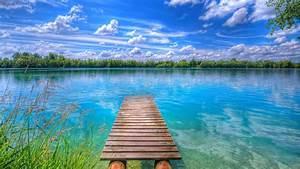 Background Beautiful Nature Lake Blue Sky With White ...