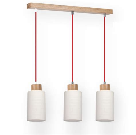 pendelleuchte mit holz 3 flg pendelleuchte mit eiche holz glas textil kabel