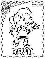 Halloween Devil Coloring Pages Printable Sheknows Cards Vampire Diaries Colouring Sheets Printables Valentine sketch template