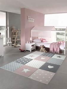 Teppich Grau Rosa : teppich traum teppich f r kinderzimmer mit stern herz pflegeleicht allergiker geeignet und ~ Indierocktalk.com Haus und Dekorationen