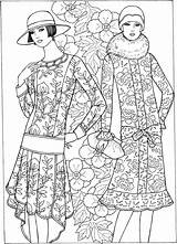 1920s Template Coloring Pages Adult Deco Adults Dover Haven Creative Fashions Colouring Publications Welcome Sun Doverpublications sketch template