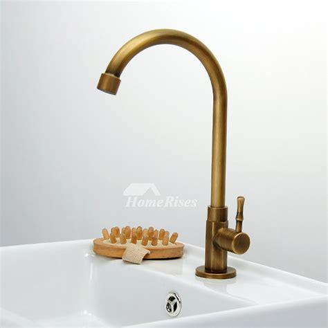 antique brass rotatable gooseneck bathroom faucet single