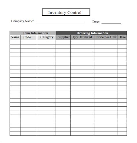 Inventory Tracking Template 6 Download Free Documents