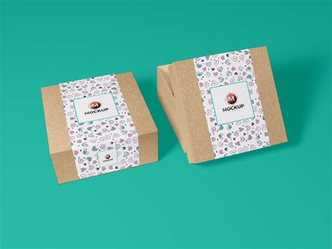 The biggest source of free photorealistic bag mockups online! Free Kraft Paper Gift Box Mockup For Greetings - Mockup Planet