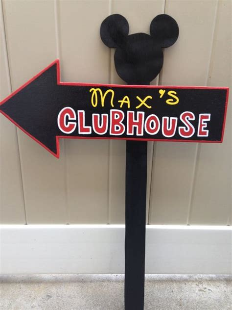 mickey mouse outdoor l post wood mickey mouse or minnie mouse clubhouse sign