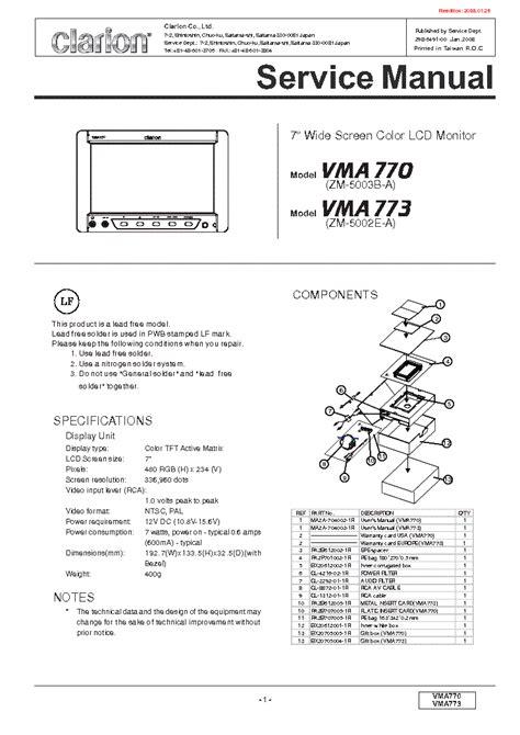 clarion vma770 vma773 zm 5002e a 5003b a lcd monitor sm service manual schematics