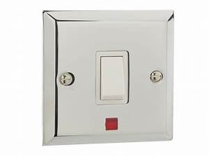 British General Chrome Single Light Switch   Neon Light 1 Gang 20amp Double Pole