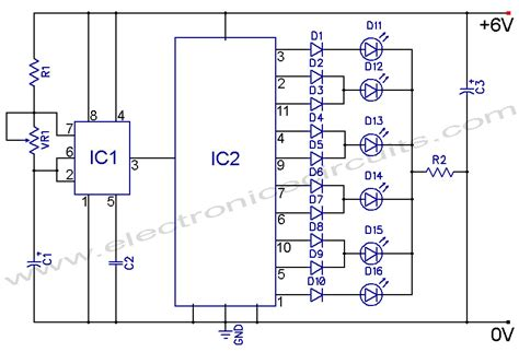 christmas light chaser circuit led knight rider circuit diagram using 4017 and 555 ic 39 s
