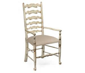 grey painted ladder back chair arm