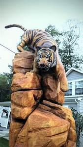 Chainsaw, Carving, Of, Tiger, Climbing, Down, Rocks, U2013, Time, Lapse, Video, U2013, Custom, Sculpture, U0026, Sign, Company
