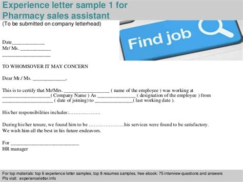 Experience Certificate Format Resume Sles by Pharmacy Sales Assistant Experience Letter