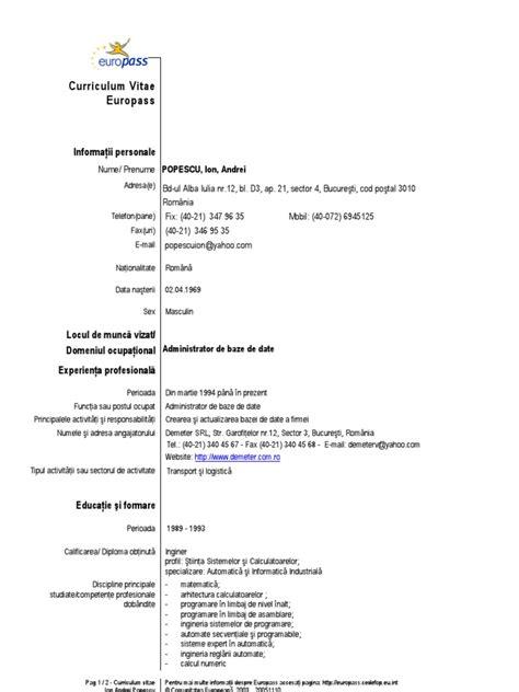 Modele Cv Doc by Model Cv European Completat Romana