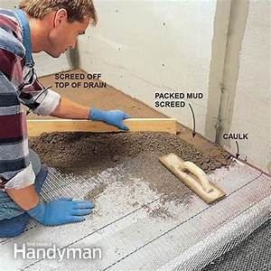 How to build a shower pan the family handyman for Installing a shower tray on concrete floor