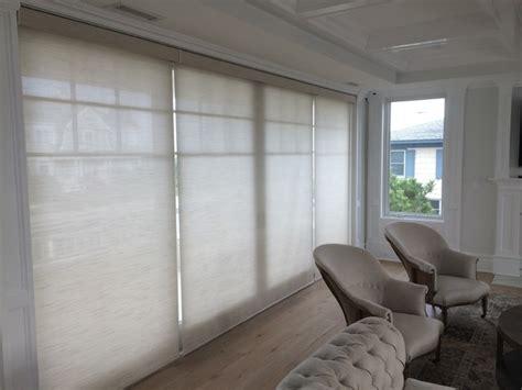 motorized window treatments beach style living room