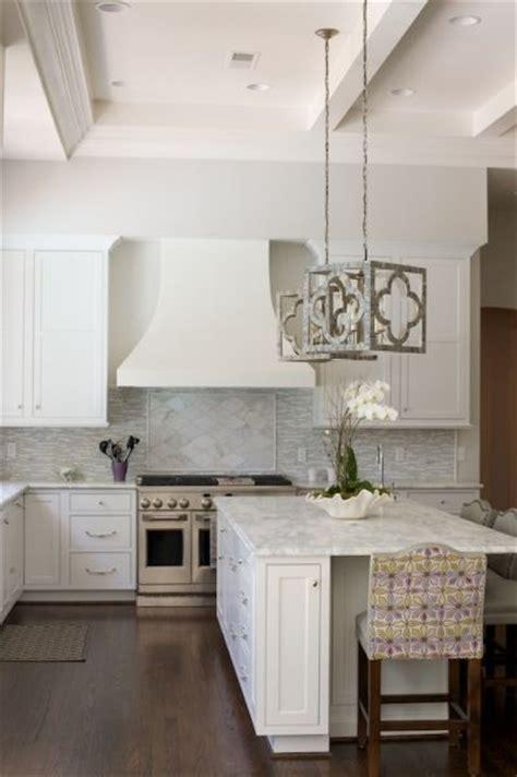 gray quatrefoil pendant lights transitional kitchen