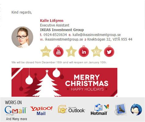 create a christmas themed html email signature by amagee247