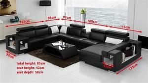 Canapé Noir Pas Cher : canape panoramique cuir salon rome canape d 39 angle en cuir 7 personnes ~ Dode.kayakingforconservation.com Idées de Décoration