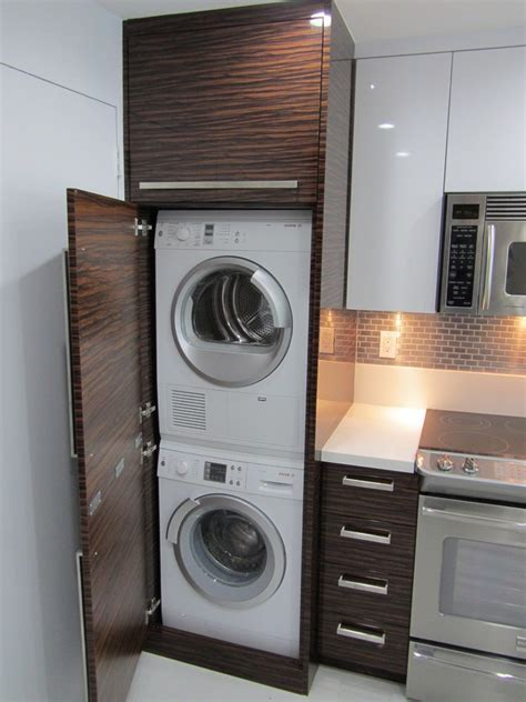 stackable washer dryer laundry room beach style with