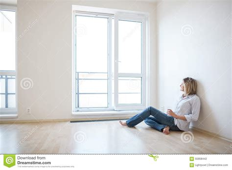 Just Moved In Beautiful Young Woman Finally Sitting Down