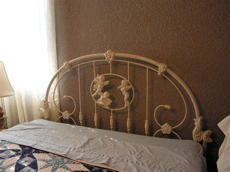 cherub metal frame queen size bed  antique furniture