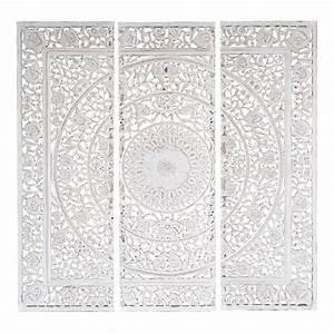 triptyque en bois blanc 150 x 150 cm andaman maisons du With triptyque maison du monde