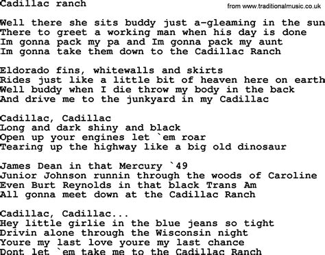 songs about cadillacs bruce springsteen song cadillac ranch lyrics