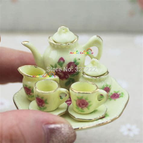 Mini Coffee Tea Set Porcelain Dish Plate Pot Cup Teapot