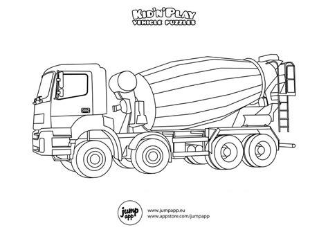 noisy cement mixer truck coloring pages picolour