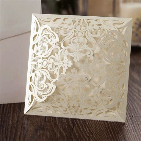 10 Ivory Square Floral Blank Laser Cut Invites DIY