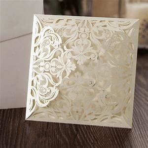 10 ivory square floral blank laser cut invites diy With blank laser cut wedding invitations uk