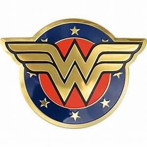 WONDER WOMAN LOGO - METALLIC STICKER 3 5 x 2 5 - BRAND NEW