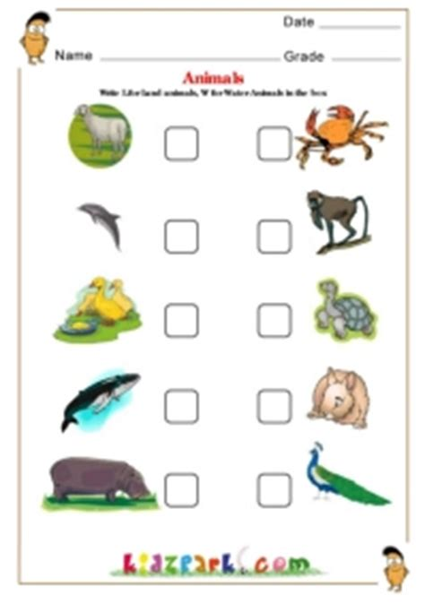 land  water animals science worksheet