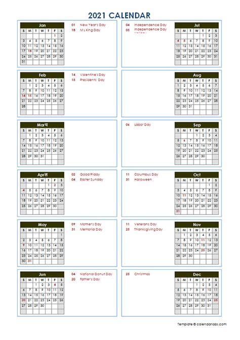 yearly calendar template vertical design