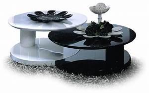 modern glossy black and white nesting coffee table osaki With black and white coffee table sets