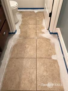 How to paint stencil tile remington avenue for How to paint ceramic tile floor in bathroom