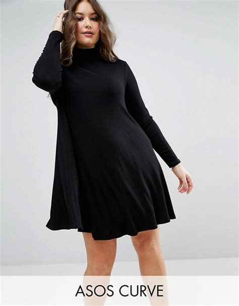 asos curve swing dress asos curve asos curve swing dress in rib with sleeve